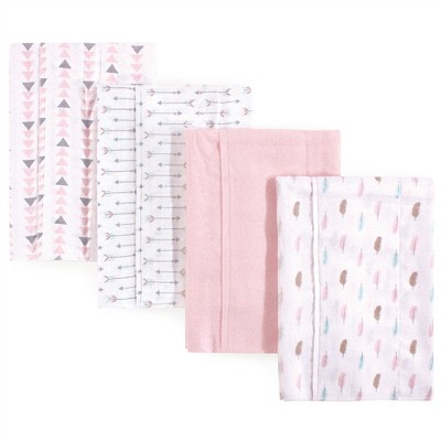 Luvable Friends Baby Girl Cotton Flannel Burp Cloths 4pk, Girl Feathers, One Size