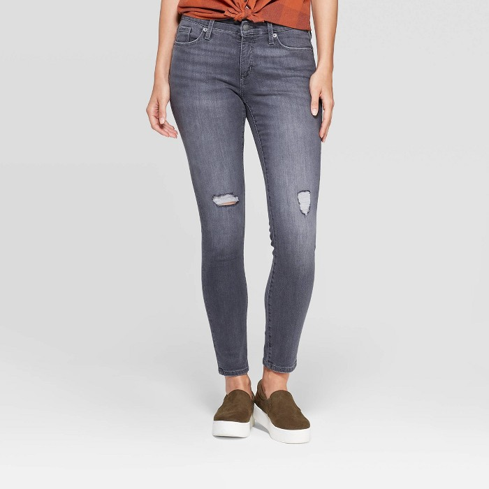 Women's Mid-Rise Skinny Jeans - Universal Thread™ Gray - image 1 of 6