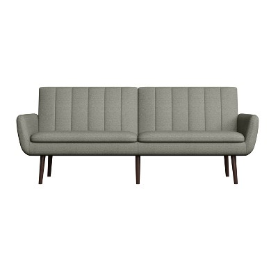 Nubuck Channel Tufted Linen Dove Gray - Convert-A-Couch