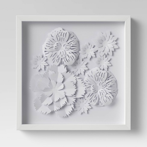 Flower Shadowbox White - Threshold™ - image 1 of 3