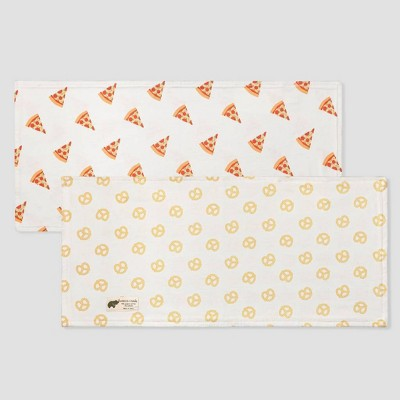 Layette by Monica + Andy Baby 2pk Organic Cotton Pizza and Pretzels Print Burp Cloth Set - Yellow