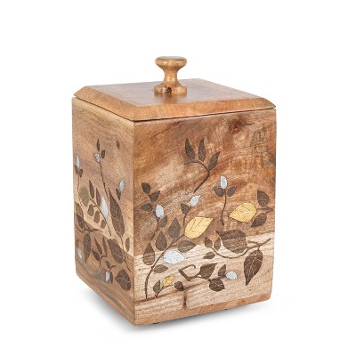 GG Collection Mango Wood with Laser and Metal Inlay Leaf Design Large Canister.