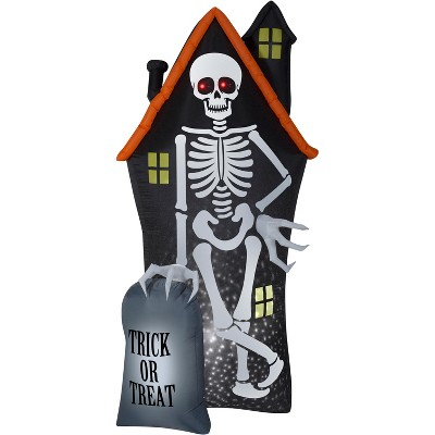 Gemmy Projection Airblown StarSpinner Skeleton and Haunted House Tombstone Scene (White), 8 ft Tall
