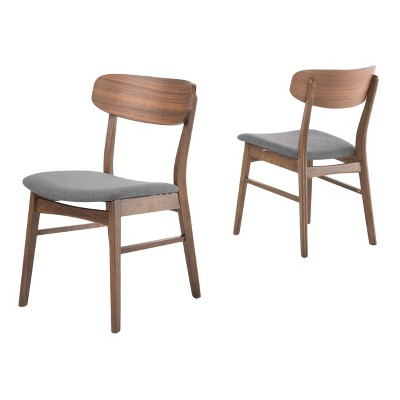 Set of 2 Lucious Dining Chair Dark Gray/Walnut - Christopher Knight Home
