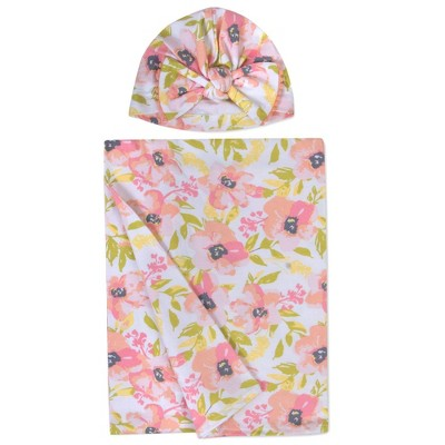 Baby Essentials Soft Floral Swaddle and Turban Set