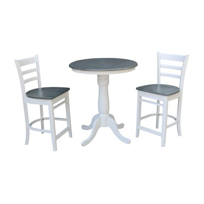 """30"""" Austin Round Pedestal Counter Height Dining Set with 2 Emily Stools - International Concepts"""