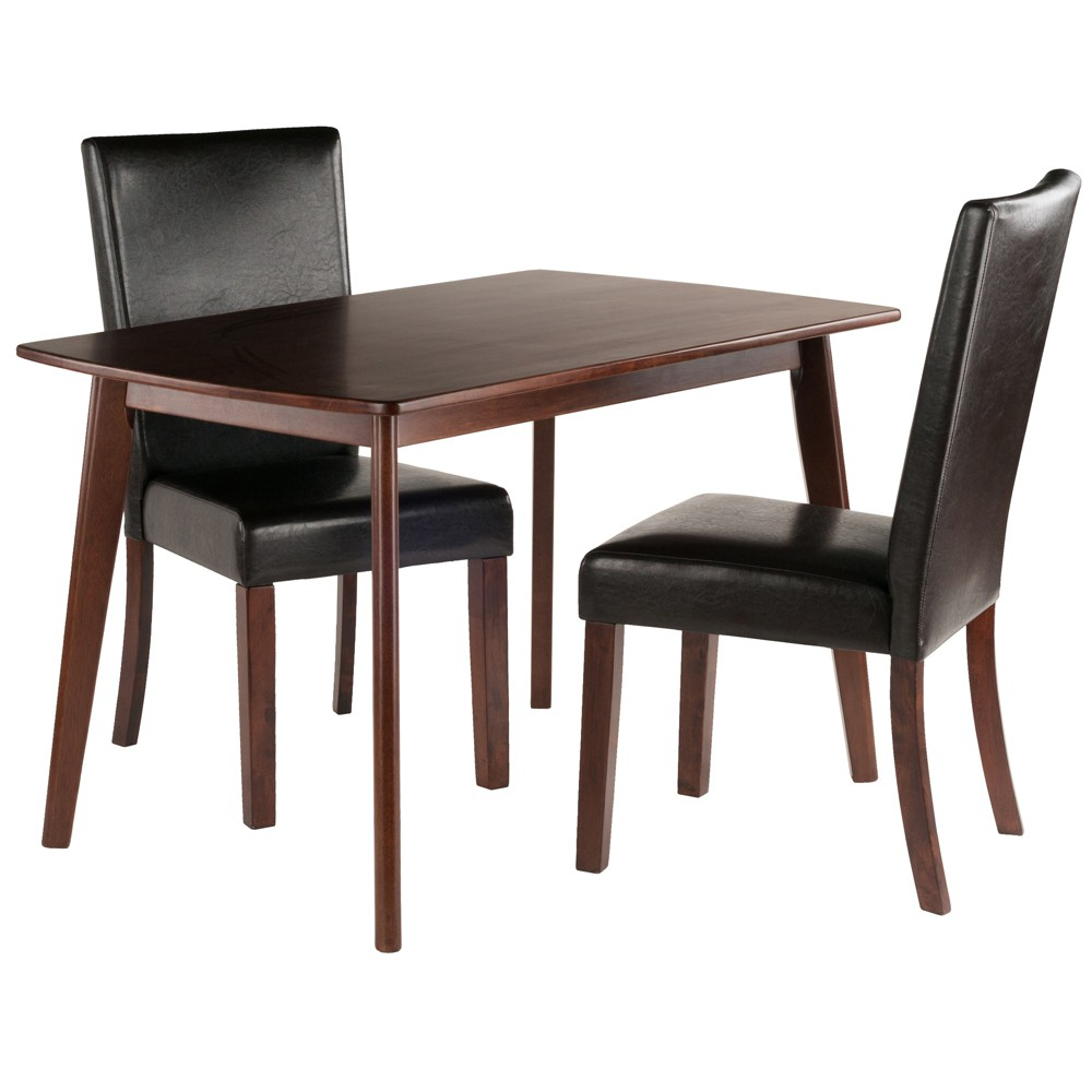 3pc Shaye Dining Table With Chairs Walnut (Brown) - Winsome