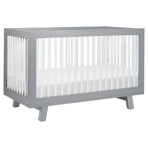 Babyletto Hudson 3-in-1 Convertible Crib with Toddler Rail - Gray/White