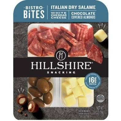 Hillshire Farm Snacking Bistro Bites with Italian Dry Salami, White Cheddar & Chocolate Almonds - 2.8oz