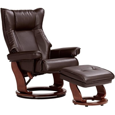 BenchMaster Morgan Java Faux Leather Ottoman and Swiveling Recliner