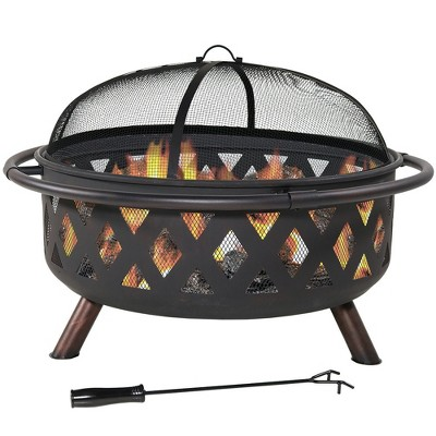 """Sunnydaze Outdoor Camping or Backyard Round Crossweave Cut Out Fire Pit with Spark Screen, Log Poker, and Cover - 36"""""""