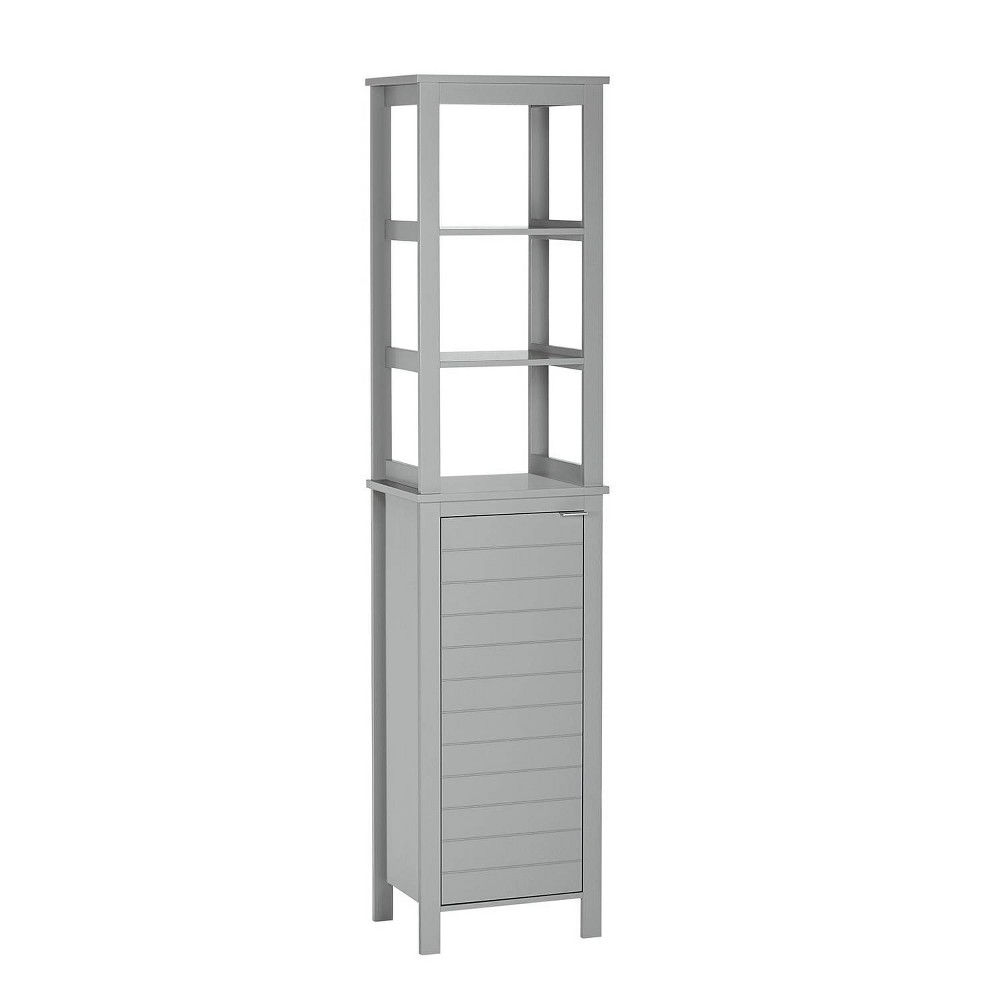 Madison Collection Linen Tower With Open Shelves Gray Riverridge Home