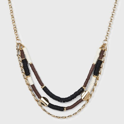 Multi Colored Heishi Beads Statement Necklace - A New Day™ Gold