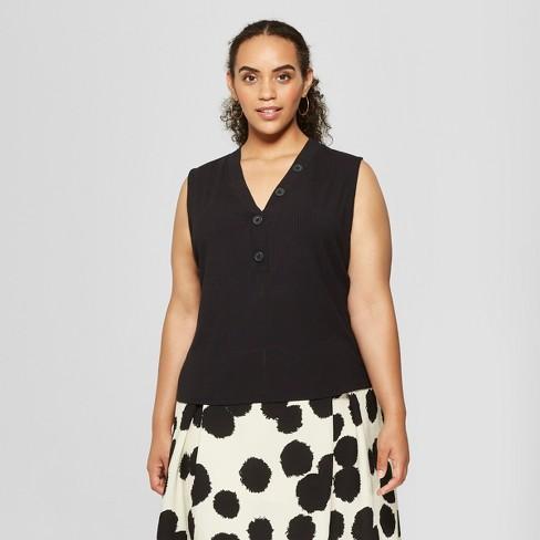 Womens Plus Size Button Detail Tank Top Who What Wear Black X