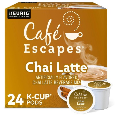 24ct Café Escapes Chai Latte Keurig K-Cup Coffee Pods Flavored Coffee Dark Roast