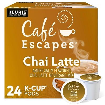 Café Escapes Chai Latte Coffee Pods Flavored Coffee Dark Roast - 24ct