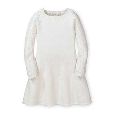 Hope & Henry Girls' Long Sleeve Sweater Skater Dress with Pointelle Sleeves, Infant