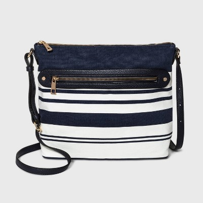 Striped Zip Closure Crossbody Bag - A New Day™ Navy