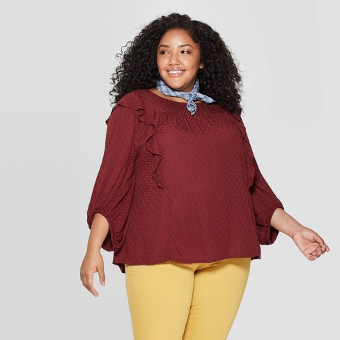Women's Plus Size 3/4 Sleeve Crewneck Top - Universal Thread™ - image 1 of 3