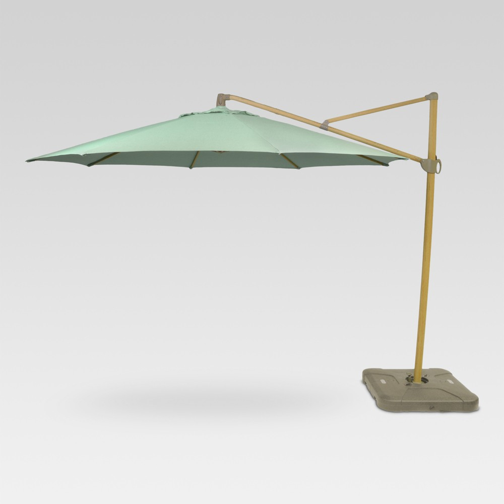 Image of 11' Offset Patio Umbrella Aqua - Light Wood Pole - Threshold , Blue