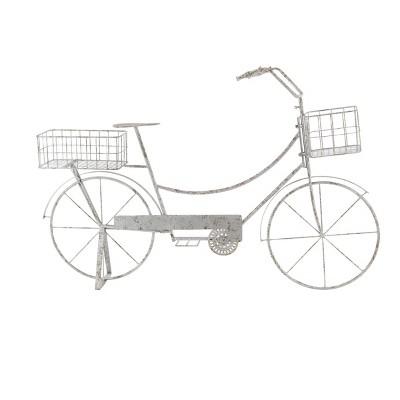 Bike Rectangular Plant Stand with Planter Baskets Metallic Gray - Olivia & May