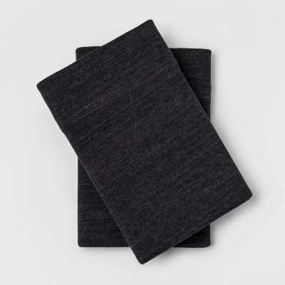 Standard Solid Cosy Jersey Pillowcase Set Charcoal - Threshold™