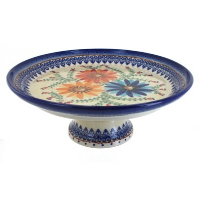 Blue Rose Polish Pottery Autumn Burst Cake Plate