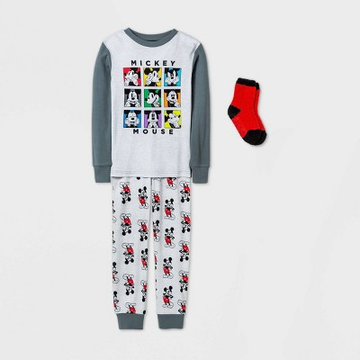 Boys' Disney Mickey Mouse & Friends 2pc Pajama Set with Socks - Gray - Disney Store