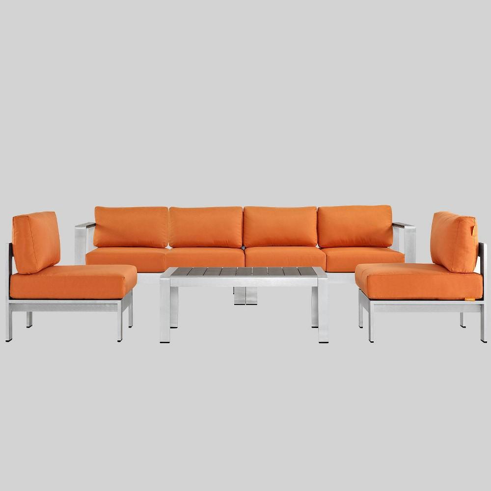 Shore 5pc Outdoor Patio Aluminum Sectional Sofa Set - Orange - Modway