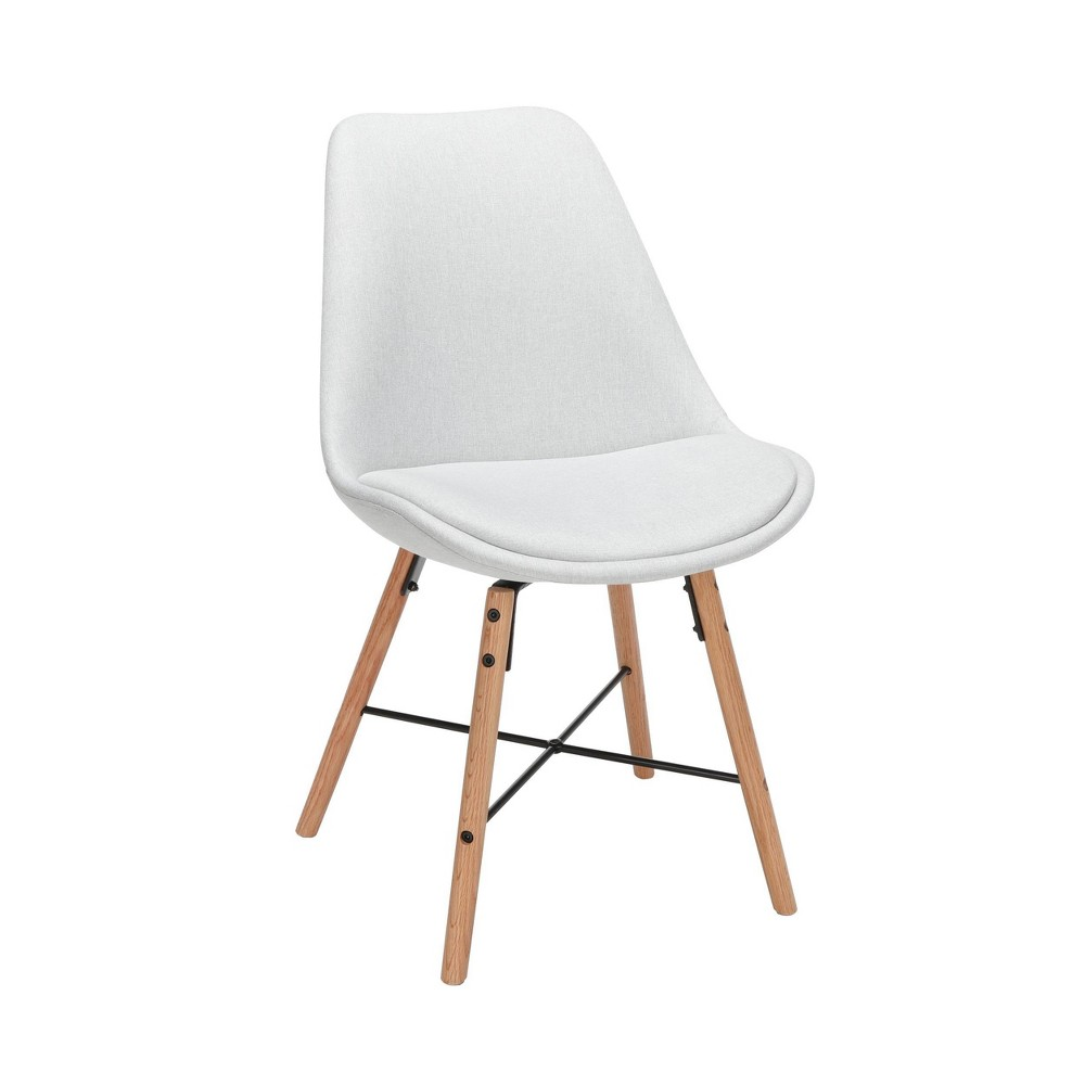 "Image of ""18"""" Set of 2 Fabric Mid-Century Modern Dining Chairs with Fabric Seat Cushion Beechwood Legs Light Gray - OFM"""