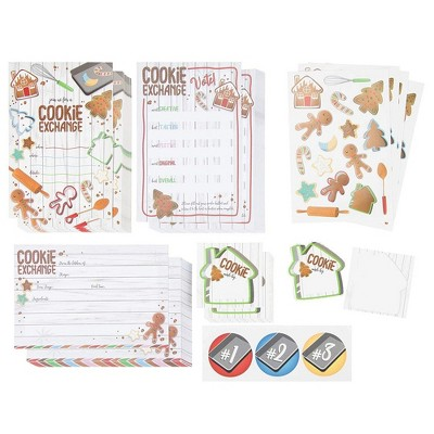Sustainable Greetings 163-Pack Cookie Exchange Party Invitations, Voting Ballots, Recipe Cards and Stickers (6 x 4 in)
