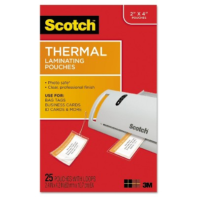 Scotch Luggage Tag Size Thermal Laminating Pouches 5 mil 4 1/5 x 2 1/2 25/Pack TP585325