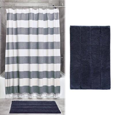 Wide Stripe Fringe Shower Curtain and Plush Rug Set Navy - iDESIGN