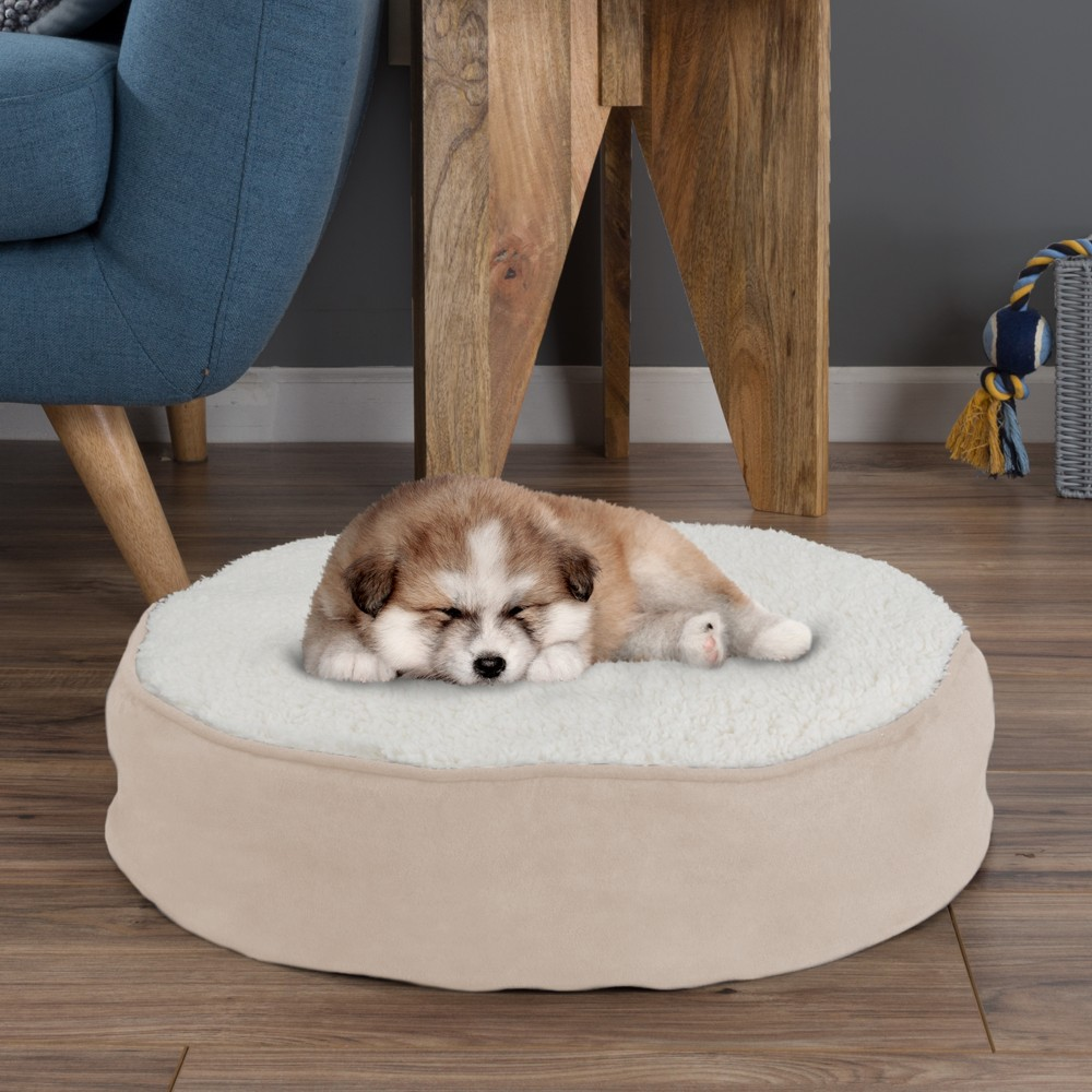 Petmaker Memory Foam Pillow Top Reversible Cats and Dogs Bed - Light Tan