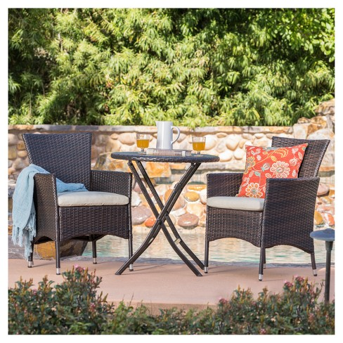 Malaga 3pc All-Weather Wicker Patio Bistro Set - Brown - Christopher Knight Home - image 1 of 4