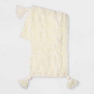 Chunky Cable Knit Throw Blanket Cream - Threshold™