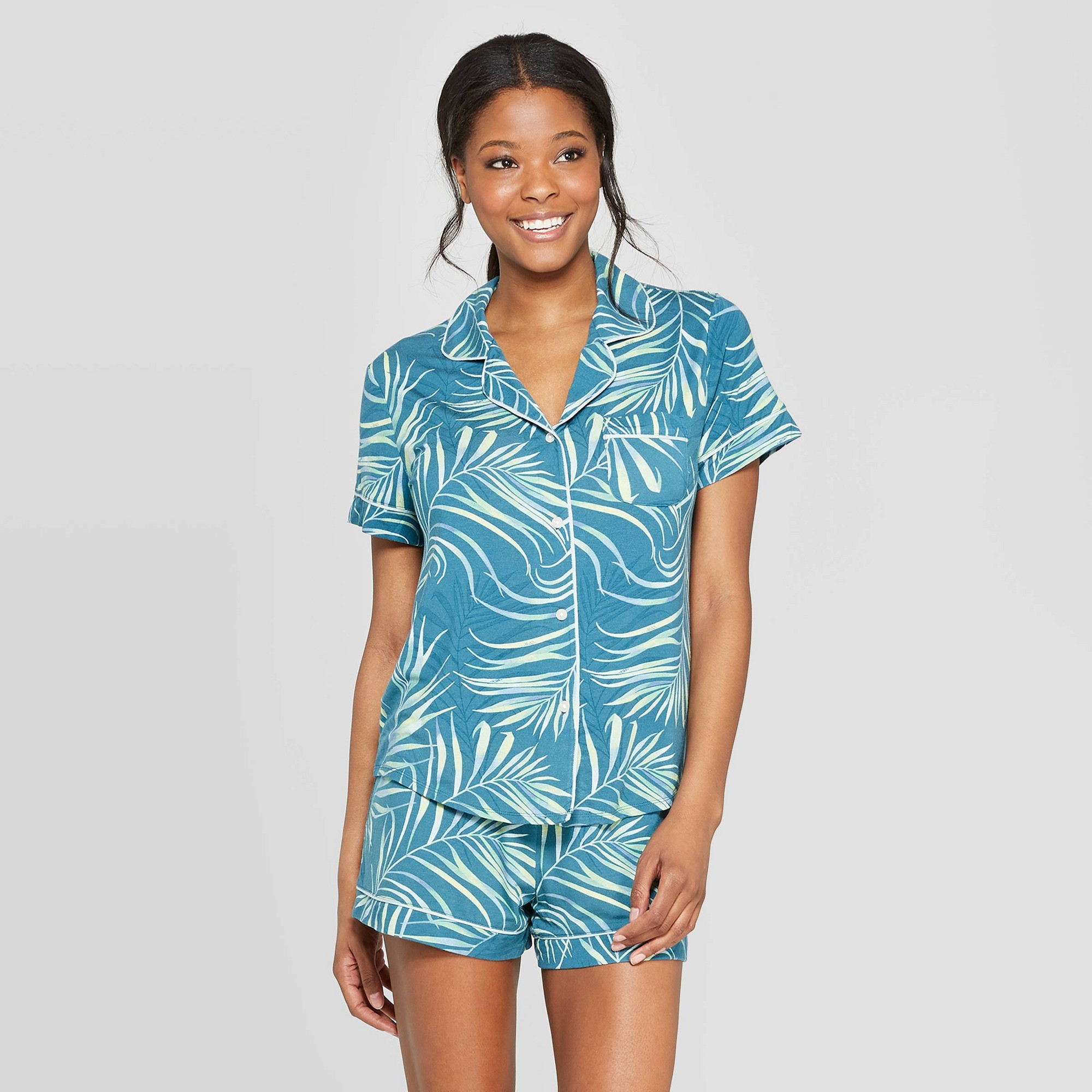 Women's Floral Beautifully Soft Short Sleeve Notch Collar Pajama Set - Stars Above Teal L, Blue