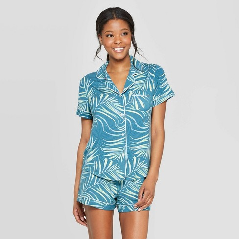 Women's Beautifully Soft Short Sleeve Notch Collar Pajama Set - Stars Above™ Teal - image 1 of 2