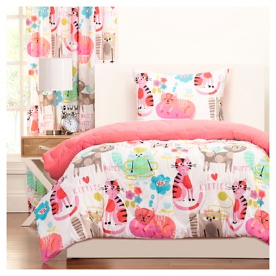 Crayola Purrty Cat Comforter and Shams - Pink (Twin)