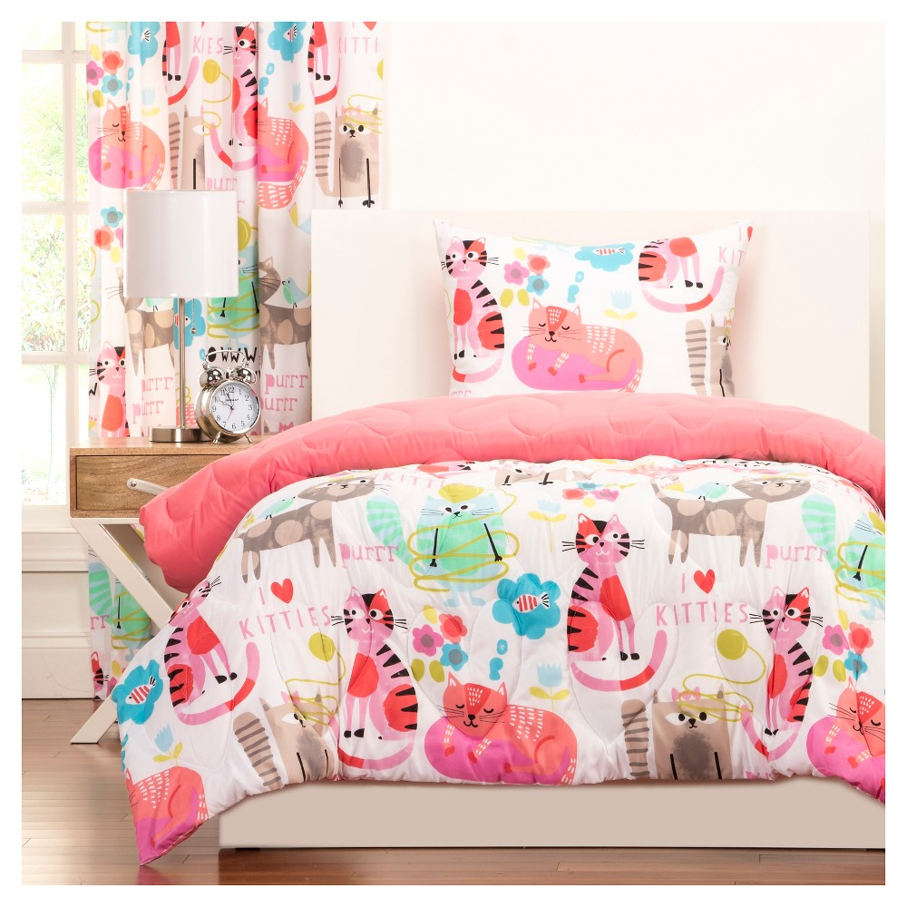 Crayola Purrty Cat Comforter and Shams - Pink (Full/Queen)