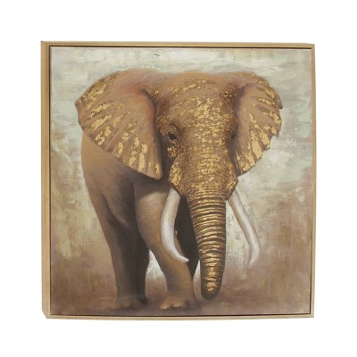 "47"" x 47"" Contemporary Framed Elephant Canvas Wall Art - Olivia & May"