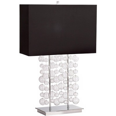 Possini Euro Design Modern Table Lamp Chrome Clear Bubble Cascade Glass Black Rectangular Shade for Living Room Family Bedroom