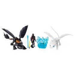 DreamWorks Dragons Hidden World Gift Set Toothless and Lightfury Dragons and Viking Figure with Crystal Accessory Exclusively at Target