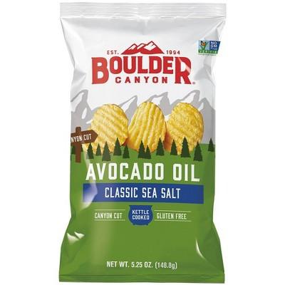 Boulder Kettle Cooked Avocado Oil Canyon Cut Sea Salt Potato Chips - 5.25oz