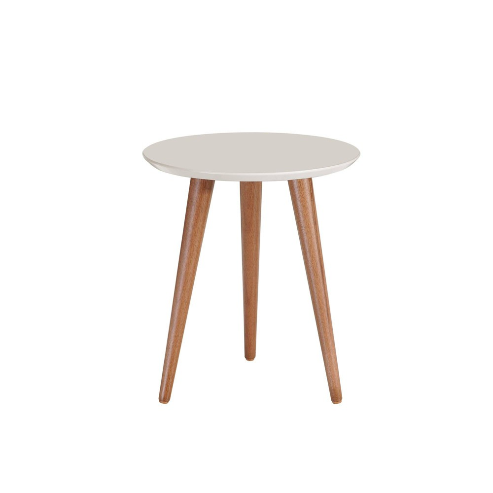 """Image of """"17.32"""""""" Moore Round End Table Off-White - Manhattan Comfort"""""""