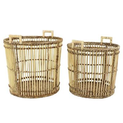 2pk Large Birdcage Shaped Natural Bamboo Baskets with Banana Leaf Detail - Olivia & May
