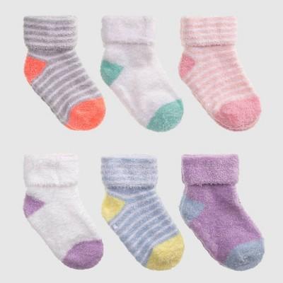 Baby 6pk Striped Low Cut Socks - Cat & Jack™ Pink