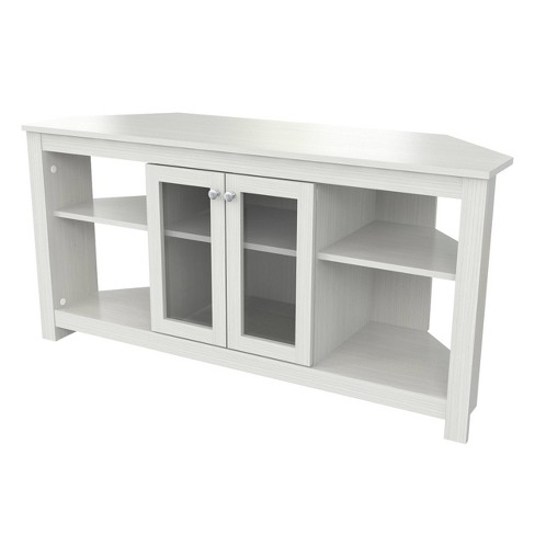 Corner TV Stand with Glass Doors Washed Oak - Inval - image 1 of 4