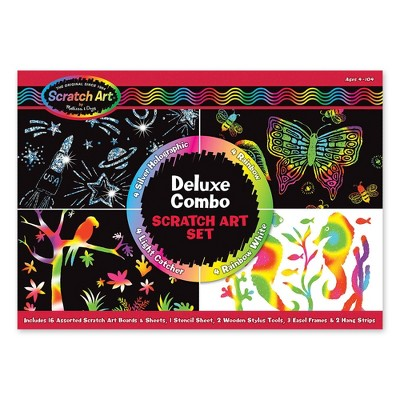 Melissa & Doug Deluxe Combo Scratch Art Set: 16 Boards, 2 Stylus Tools, 3 Frames