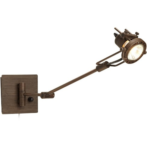 Possini Euro Design Industrial Swing Arm Wall Lamp LED Spotlight Bronze Plug-In Light Fixture Bedroom Bedside Living Room Reading - image 1 of 4